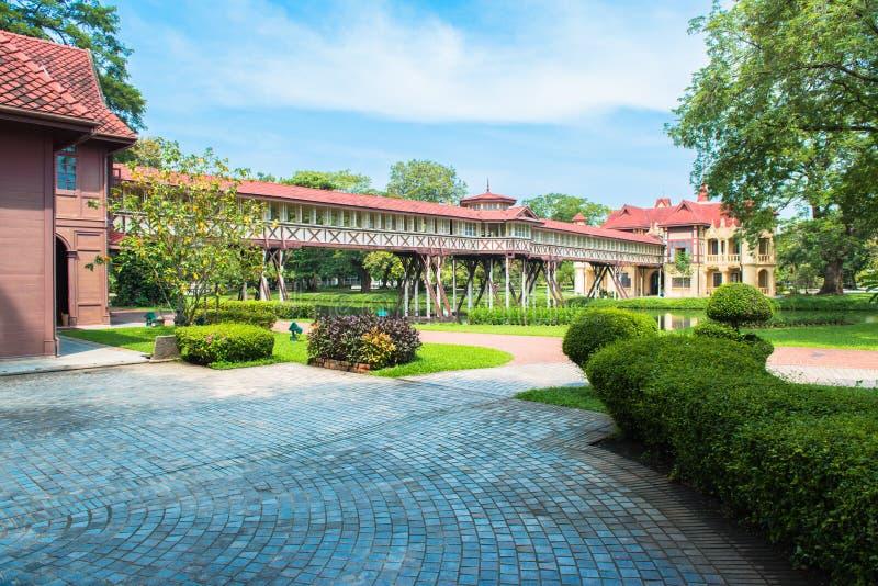 萨娜姆Chandra宫殿,欧洲城堡样式, Rama国王VI在佛统,泰国 库存图片