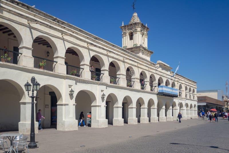 萨尔塔市cabildo的细节在阿根廷 免版税库存图片