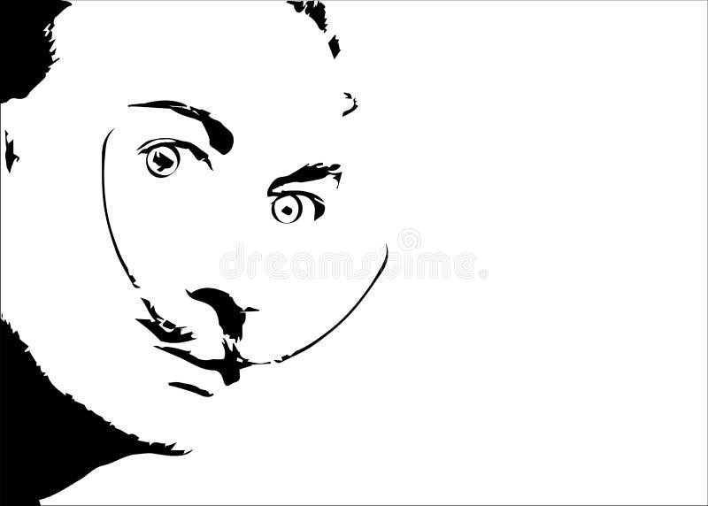 萨尔瓦多・达利`传染媒介画象、最小的图表被隔绝的或白色背景 向量例证