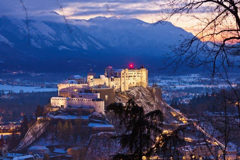 萨尔茨堡和城堡Hohensalzburg -奥地利 免版税库存图片