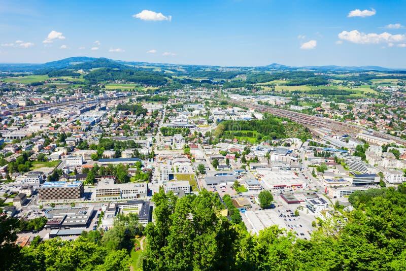 萨尔茨堡市鸟瞰图 库存照片