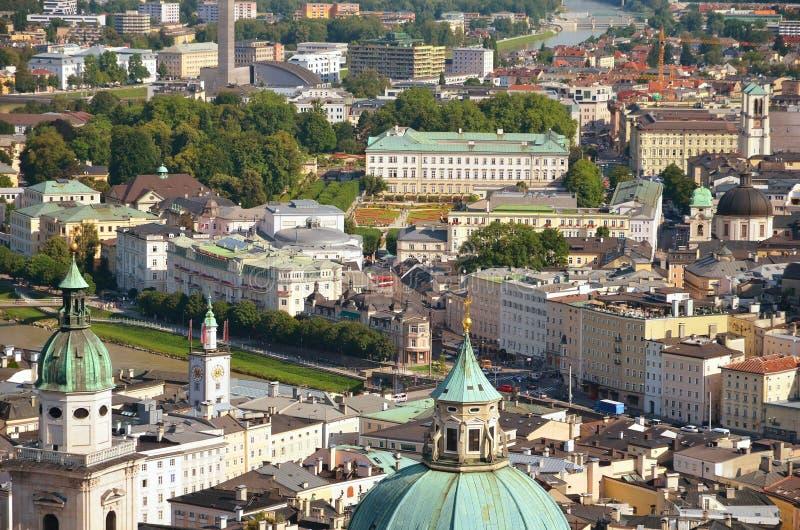 萨尔茨堡的空中全景 库存照片