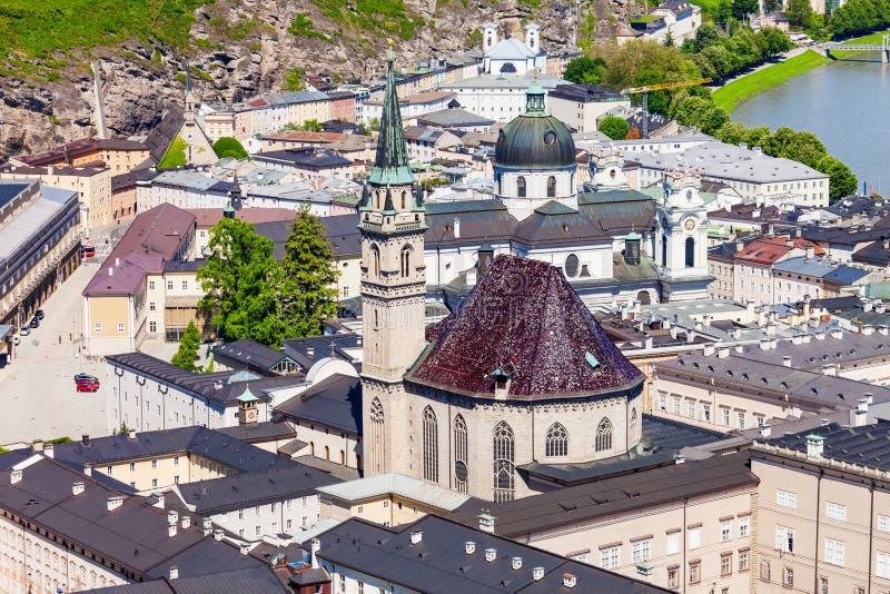萨尔茨堡空中全景 库存照片