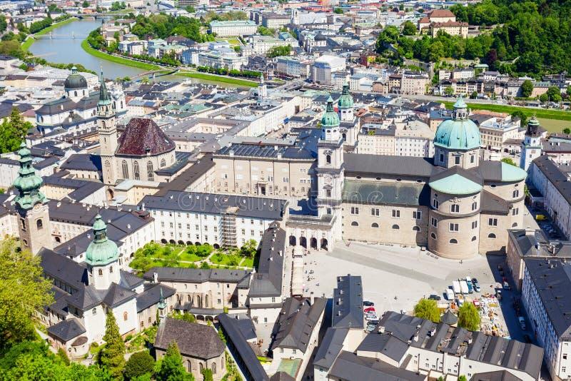 萨尔茨堡空中全景 免版税库存图片