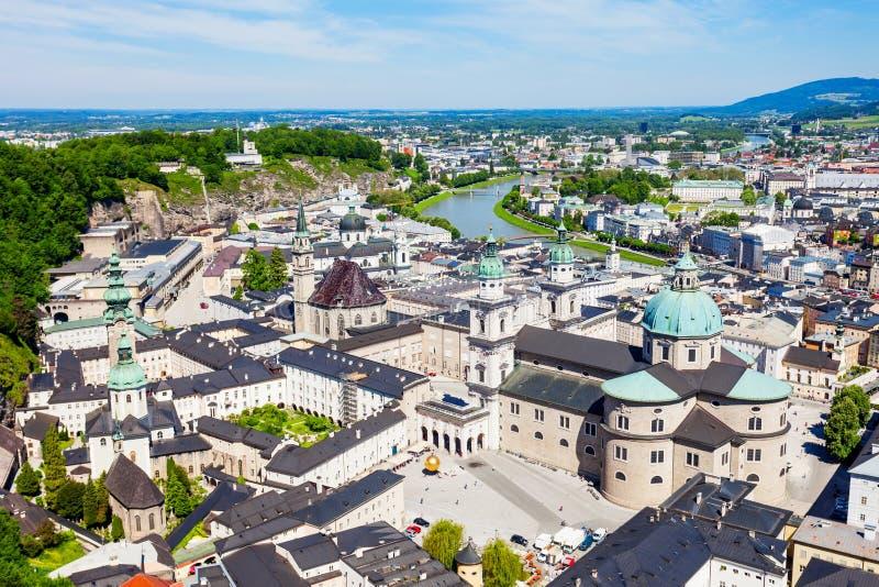 萨尔茨堡空中全景 库存图片