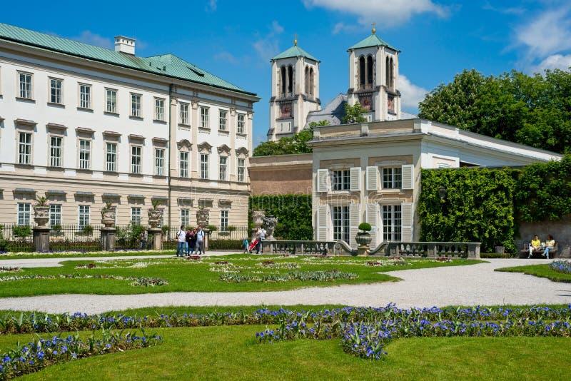 萨尔茨堡米拉贝尔宫和庭院 免版税库存图片