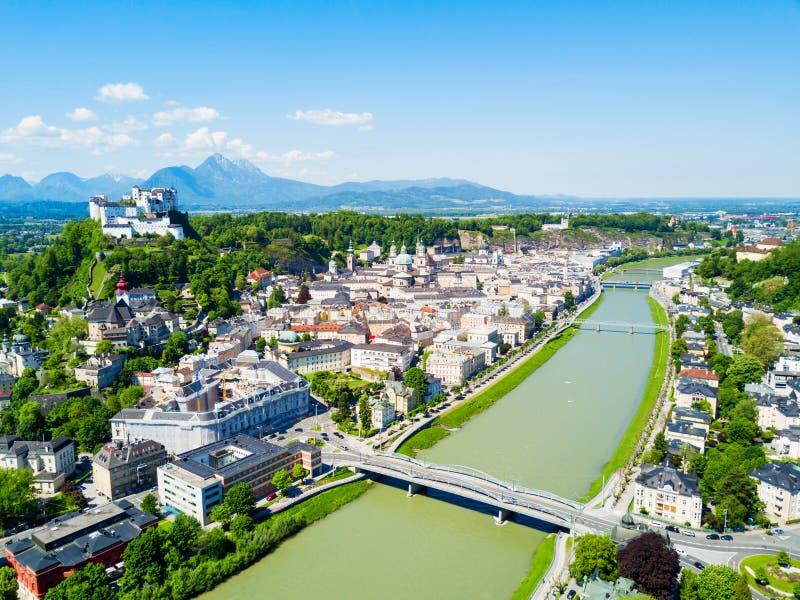 萨尔茨堡鸟瞰图,奥地利 库存图片