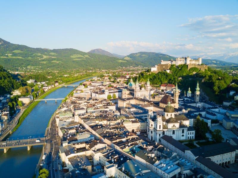 萨尔茨堡鸟瞰图,奥地利 免版税库存图片