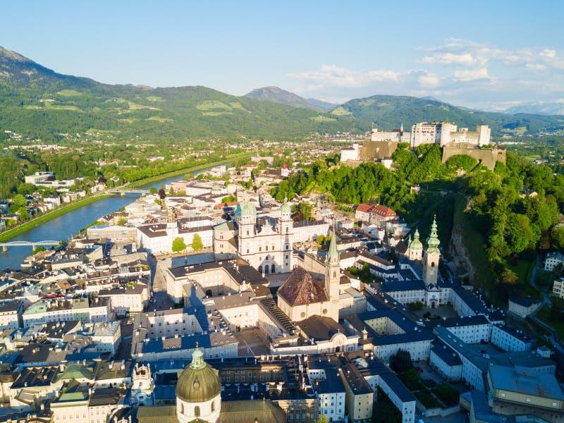 萨尔茨堡鸟瞰图,奥地利 免版税库存照片