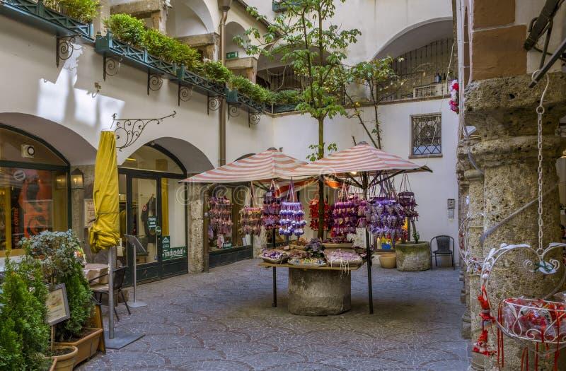 萨尔茨堡,奥地利老镇  免版税库存图片