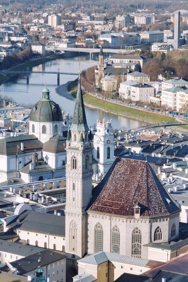 萨尔茨堡,奥地利鸟瞰图  免版税库存照片