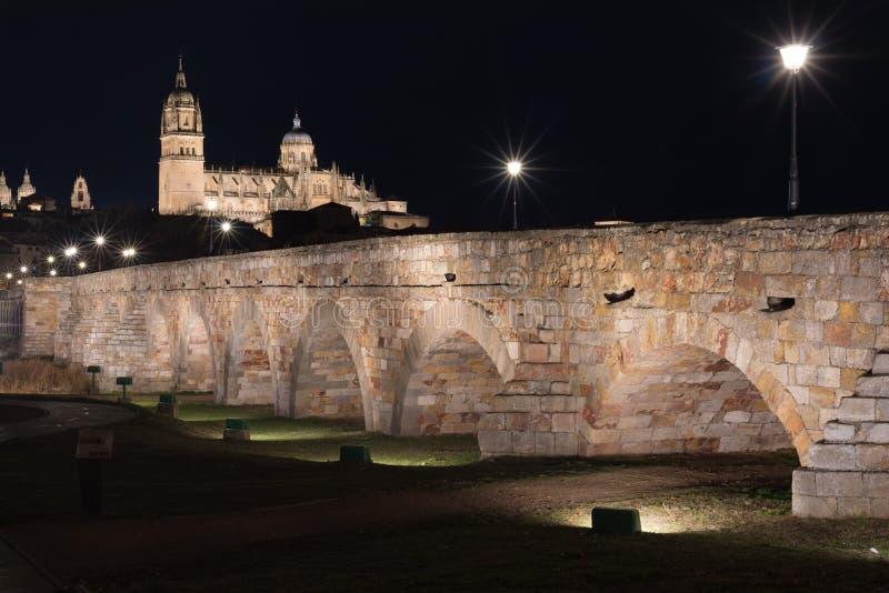 萨拉曼卡大教堂和罗马桥梁夜视图在Tormes河,萨拉曼卡,西班牙 免版税图库摄影