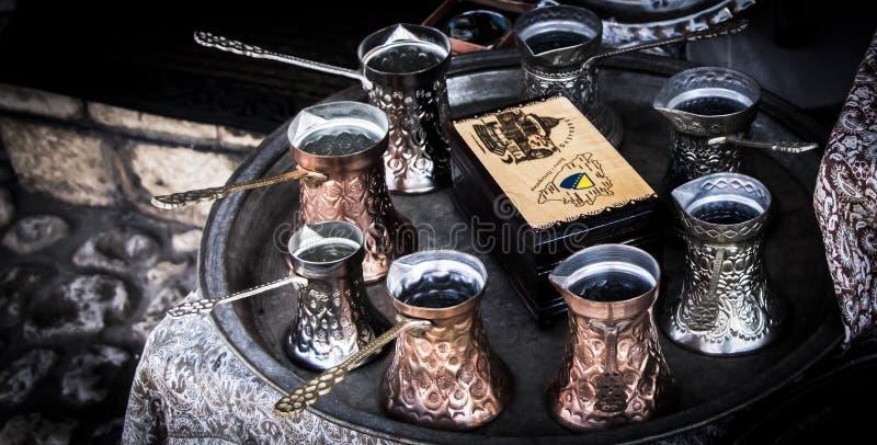 萨拉热窝特别镇,土耳其咖啡 免版税图库摄影