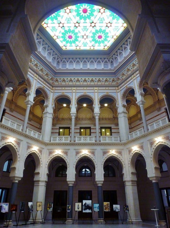 萨拉热窝香港大会堂内部 免版税图库摄影