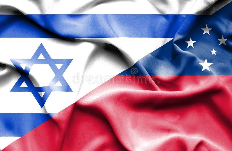 萨摩亚和以色列的挥动的旗子 库存例证