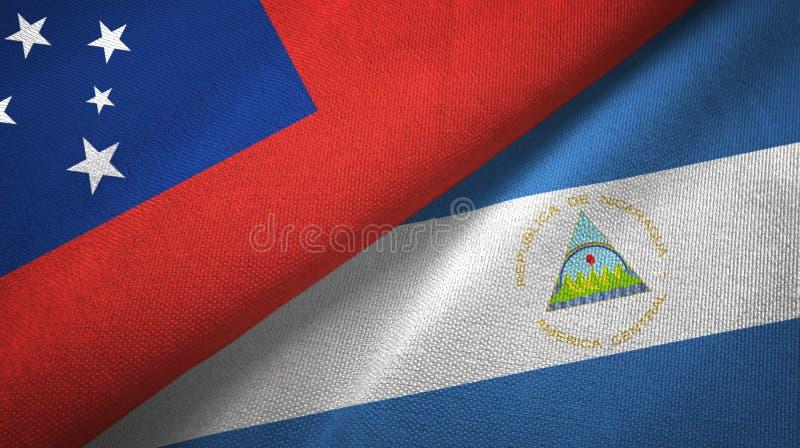 萨摩亚和尼加拉瓜两旗子纺织品布料,织品纹理 库存例证