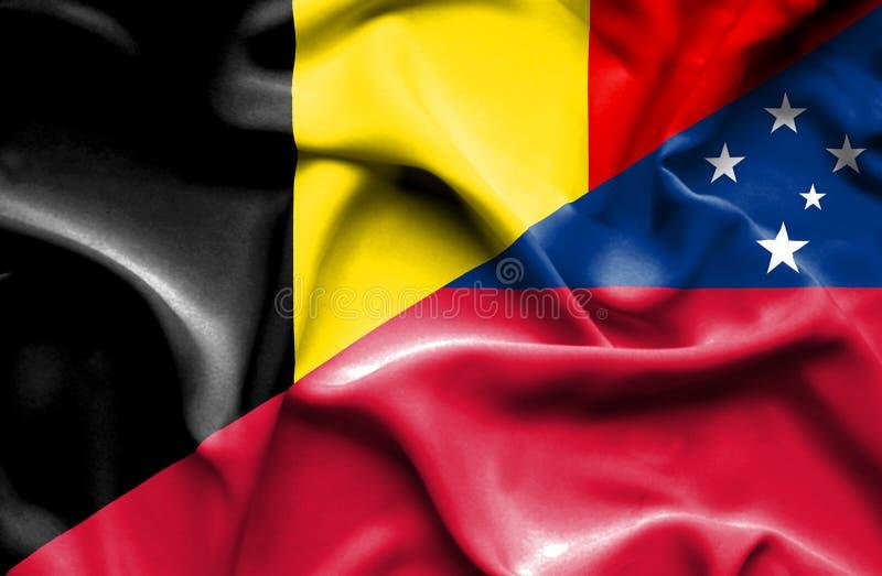 萨摩亚和比利时的挥动的旗子 库存例证
