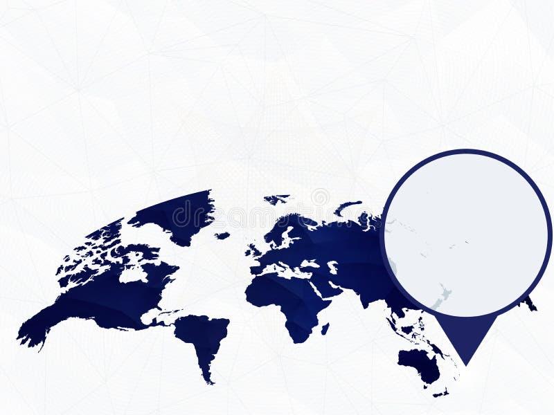 萨摩亚在蓝色被环绕的世界地图详述了地图突出了 库存例证