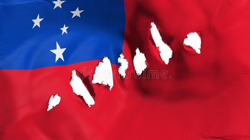 萨摩亚旗子穿孔了,弹孔 免版税库存照片