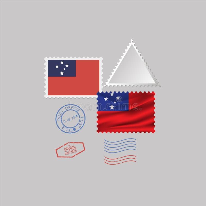 萨摩亚旗子邮票集合,隔绝在灰色背景 皇族释放例证