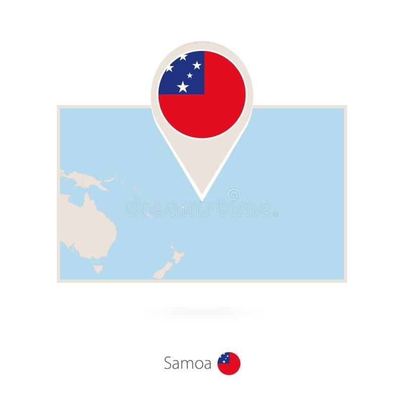 萨摩亚的长方形地图有萨摩亚的别针象的 库存例证