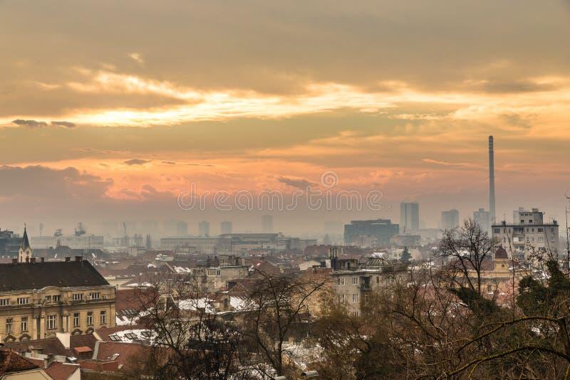 萨格勒布・克罗地亚,欧洲地平线  库存照片