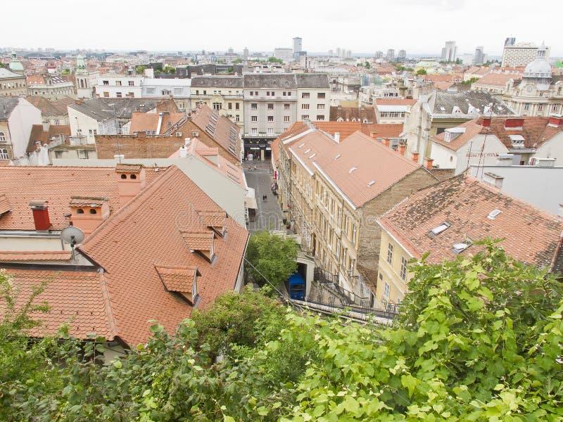 萨格勒布全景从上部镇的 免版税库存图片