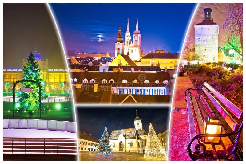萨格勒布出现晚上明信片城市 图库摄影