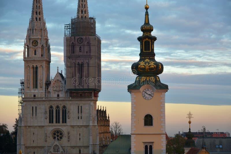 萨格勒布大教堂塔 免版税库存图片