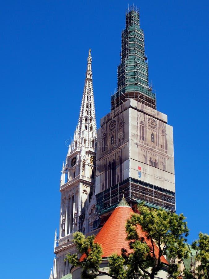 萨格勒布大教堂塔 库存图片