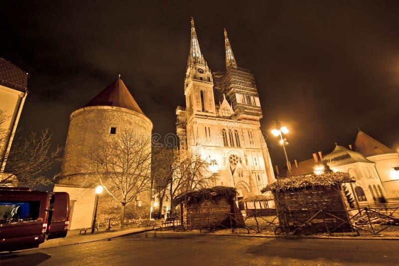 萨格勒布大教堂夜圣诞节视图 免版税图库摄影