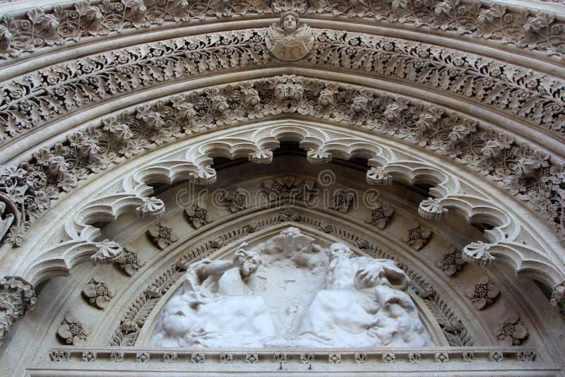 萨格勒布大教堂的门户 免版税库存照片