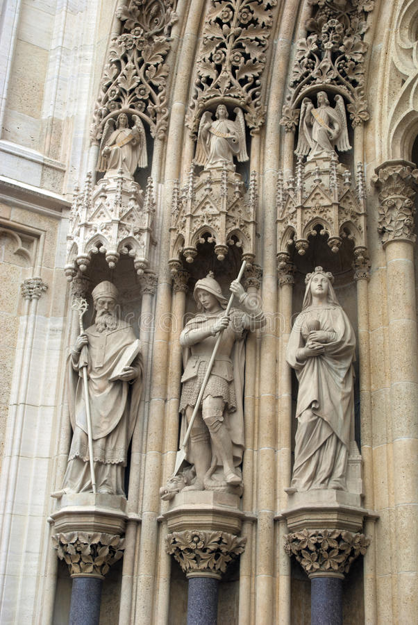 萨格勒布大教堂详细资料  免版税库存照片