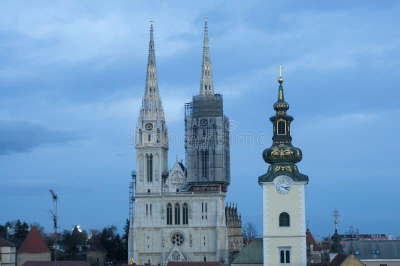 萨格勒布大教堂,克罗地亚看法  库存图片