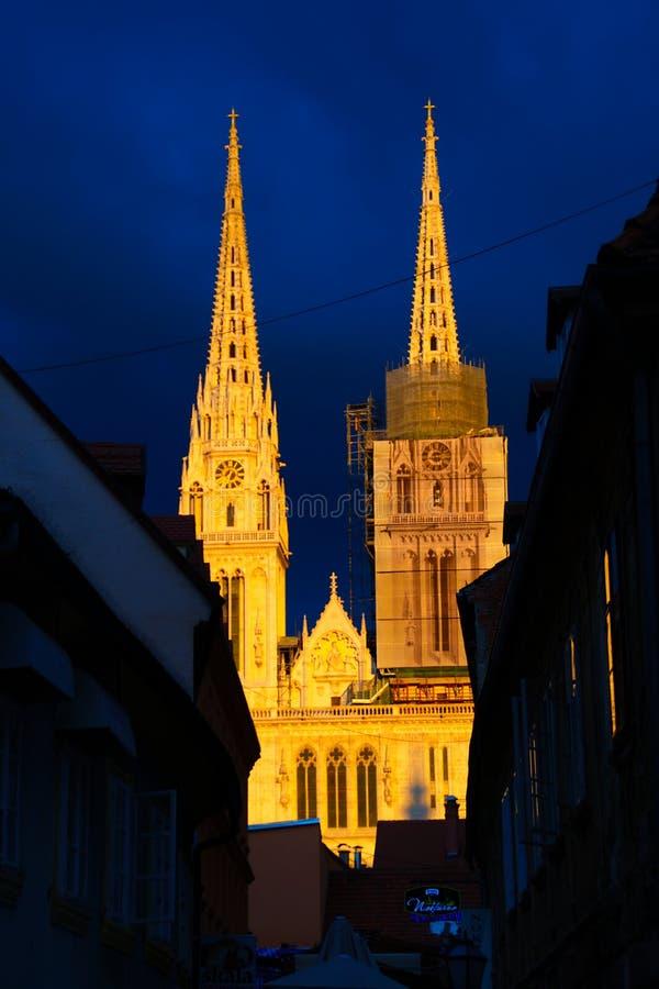 萨格勒布大教堂,克罗地亚 库存图片