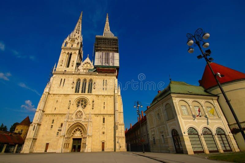 萨格勒布大教堂,克罗地亚 图库摄影