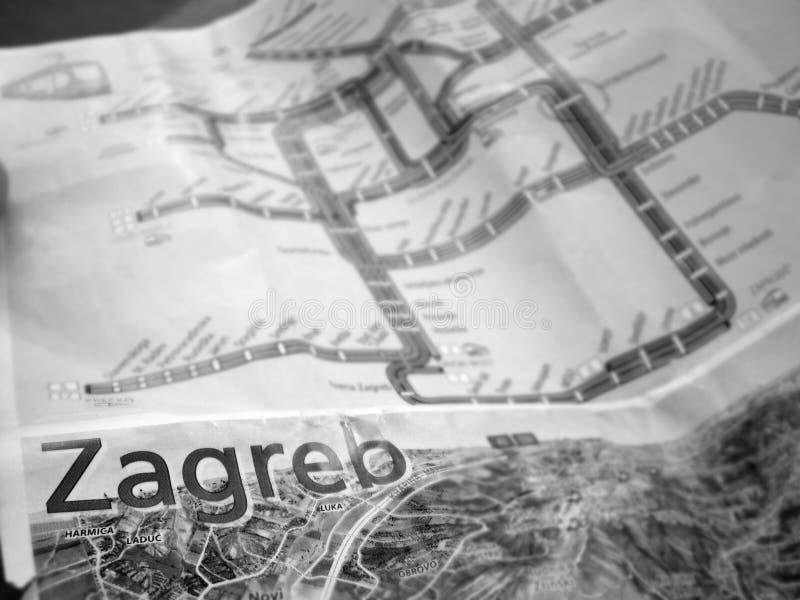 萨格勒布市地图 免版税库存照片