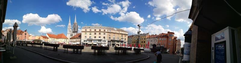 萨格勒布的全景 正方形 中心 免版税库存照片