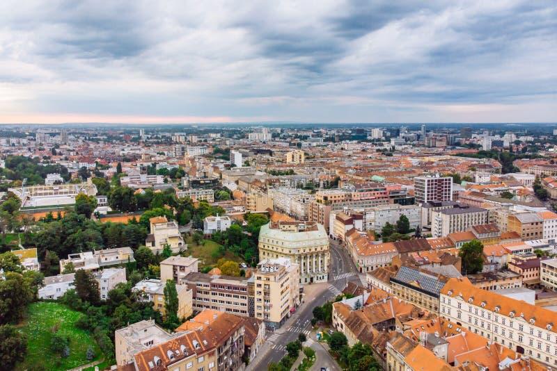 萨格勒布老市鸟瞰图  免版税库存照片