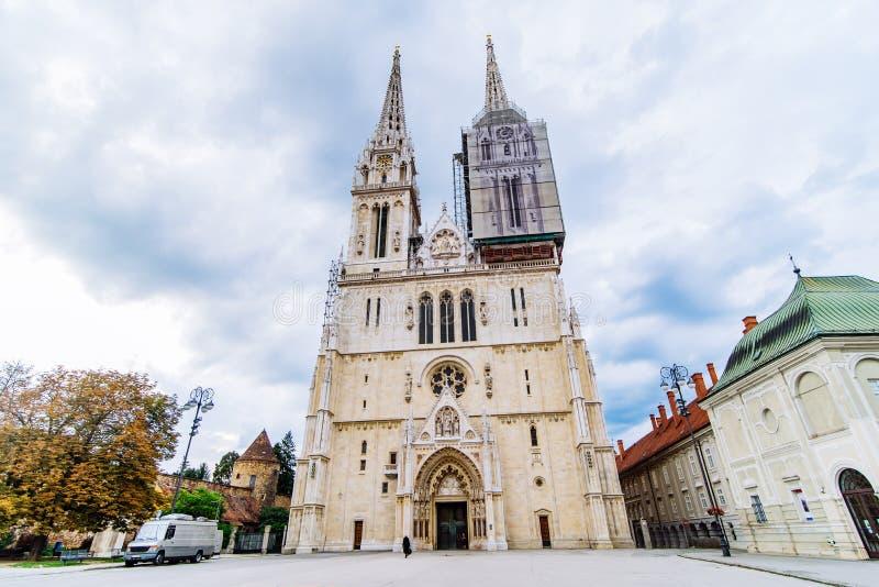 萨格勒布老欧洲哥特式教会大教堂  库存照片