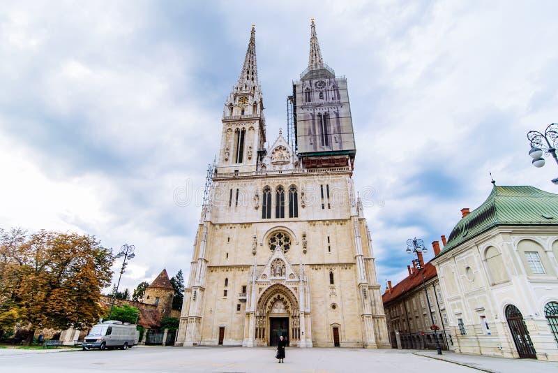 萨格勒布老欧洲哥特式教会大教堂  免版税库存图片