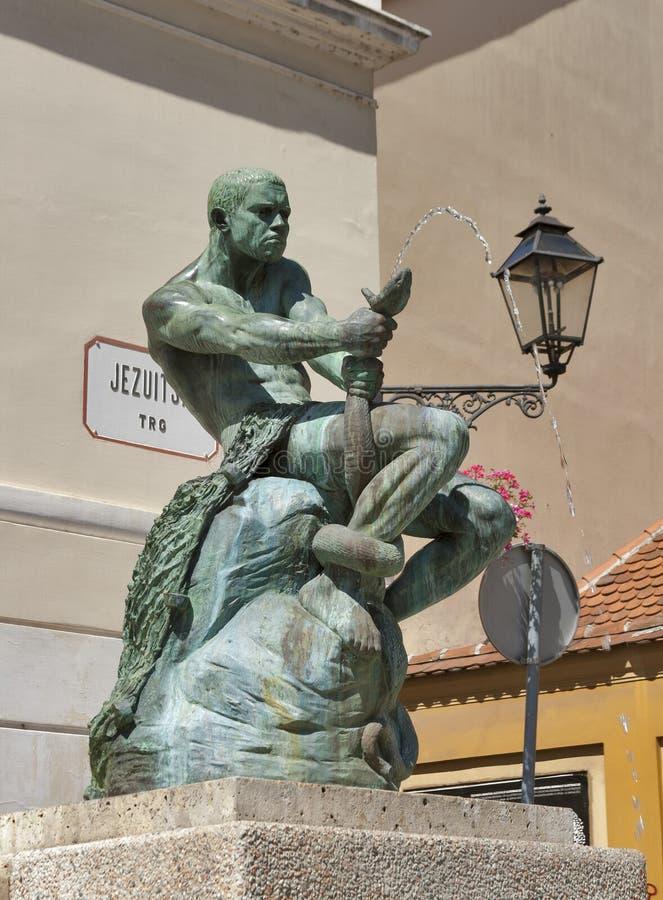 萨格勒布雕塑喷泉 免版税库存图片