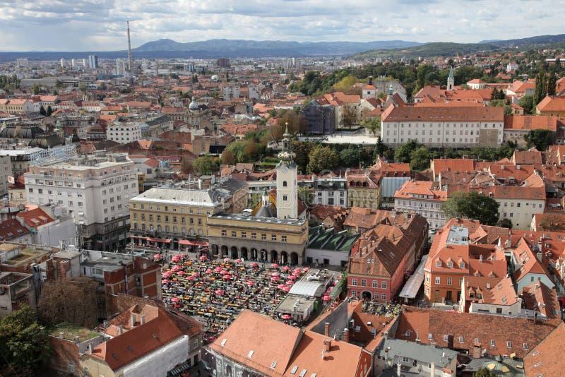 萨格勒布鸟瞰图,克罗地亚的首都 库存照片
