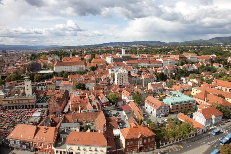 萨格勒布鸟瞰图,克罗地亚的首都 库存图片