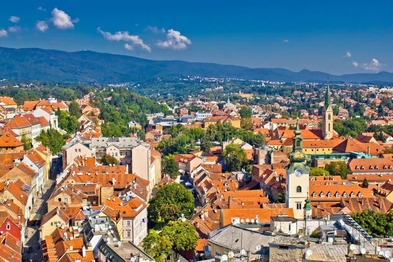 萨格勒布,克罗地亚鸟瞰图的首都 库存照片