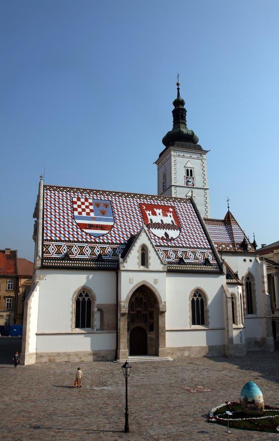 萨格勒布-圣马克教会 图库摄影