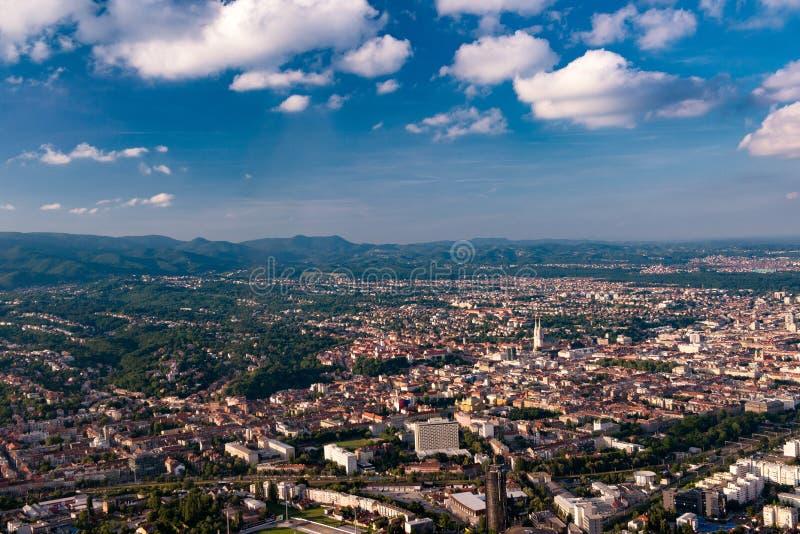 萨格勒布从空气的市中心 免版税图库摄影
