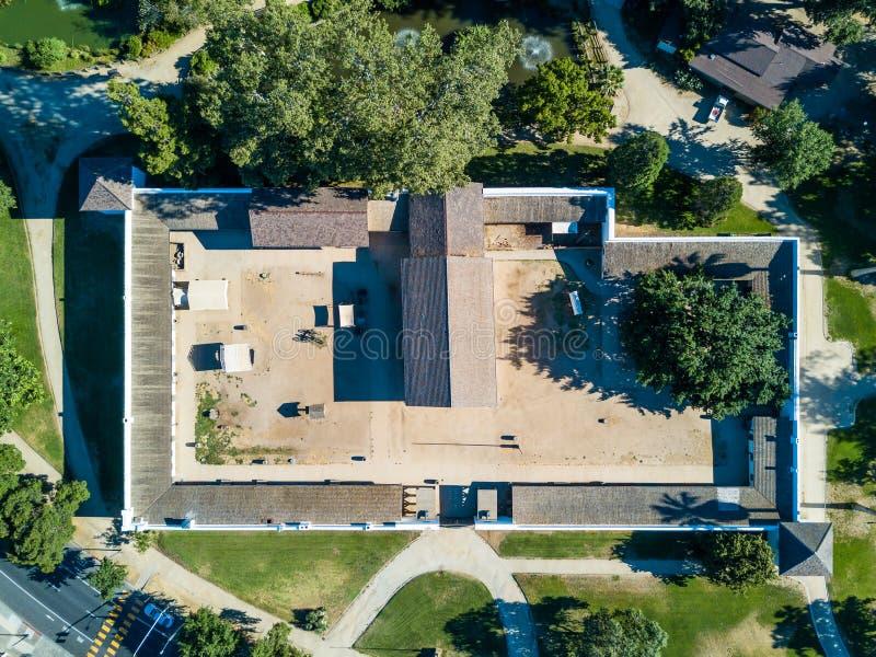 萨特` s堡垒鸟瞰图在萨加门多 免版税图库摄影