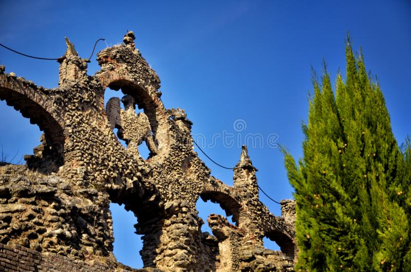 萨索罗,意大利, Este家庭,喷泉老夏天住所公爵的宫殿  库存图片