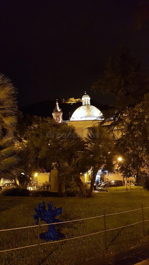 萨莱诺夜风景  库存照片